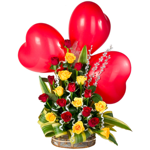 Romantic 3 Red Heart Balloons and Appealing Charm of 20 Mixed Roses