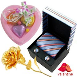Comforting Set of Tie and Cufflink with 1 Golden Rose and 3 pcs Heart Homemade Chocolate