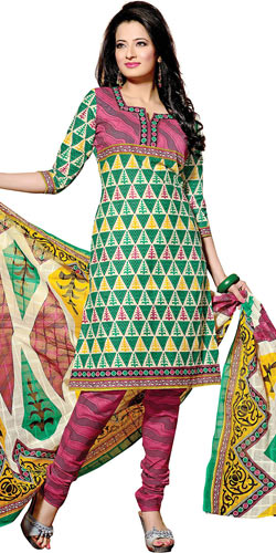 Dazzling Green and Pink Coloured Pure Cotton Printed Salwar Suit