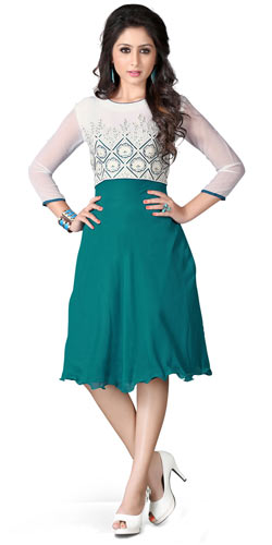 Astonishing White and Turquoise Shaded Georgette Embroidered Kurti