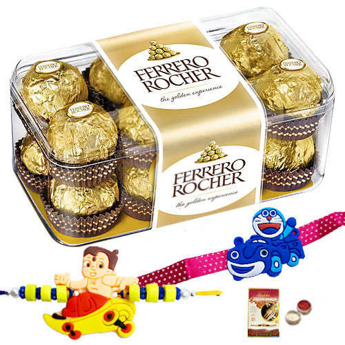 Free 2 Rakhi, Roli Tilak and Chawal with Delicious Ferrero Rocher