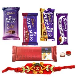 Attractive Selection of Chocolates from Cadburys with Rakhi Roli Tilak and Chawal