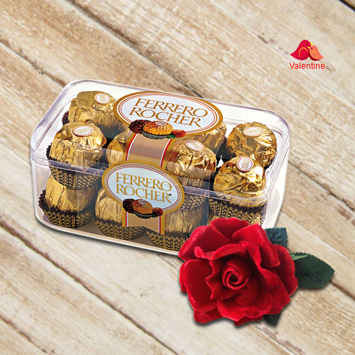Imported Ferrero Rocher Chocolate Box and a Velvet Red Rose