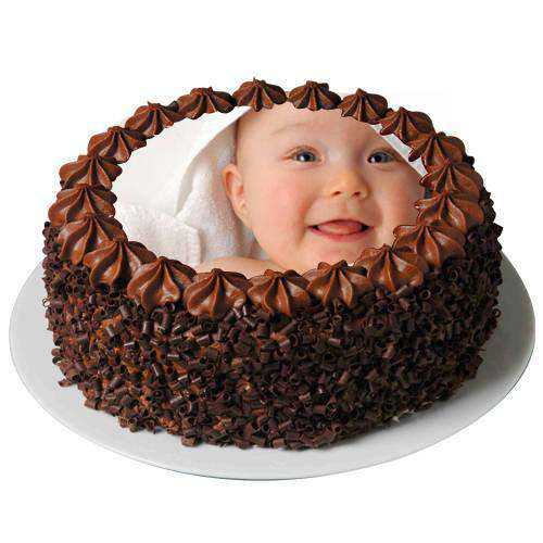Molded Fancy 2 Kg Chocolate Photo Cake