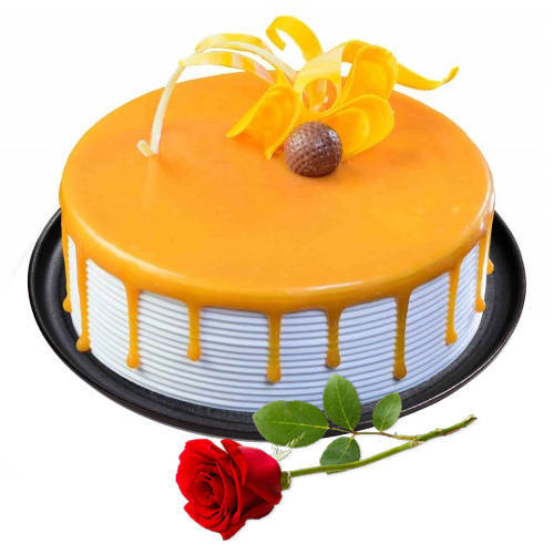 Classic Duo of Butter Scotch Cake with Red Rose