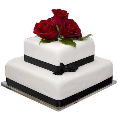 2 Tier Rosy Touch Wedding Cake