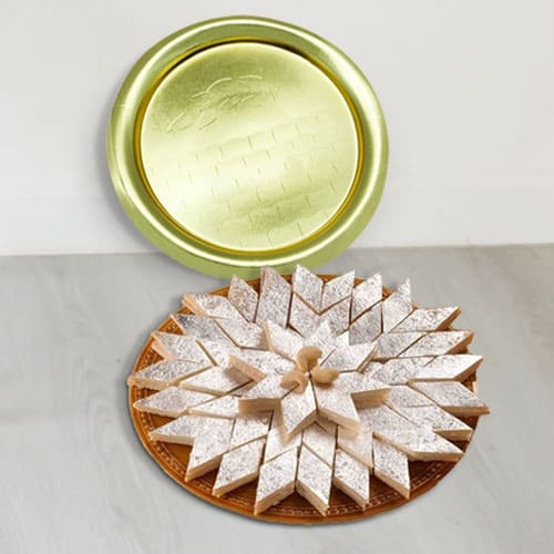 Lip-Smacking Kaju Katli from Haldiram with Golden Plated Thali