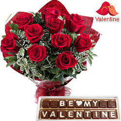 Enticing Red Roses Bouquet N Handmade Chocolates Combo Gift for Valentines Day