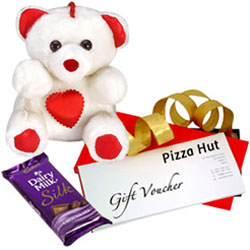 Exciting Gift Pack of Pizza Hut Gift Voucher with Cadbury Silk N Teddy