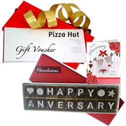 Memorable Combo of Anniversary Card with Handmade Chocolate N Pizza Hut Gift Voucher
