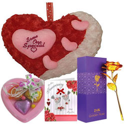 Superb Selection of Heart Love with Chocolates, Golden Rose  N Anniversary Card