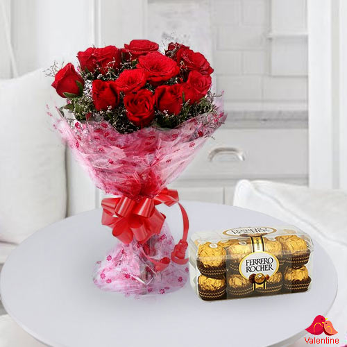 12 Exclusive Dutch Red Roses  Bouquet with 16 pcs Ferrero Rocher