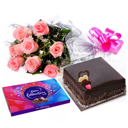 Special Surprise Arrangement of Pink Rose Bouquet, Chocolate and Cake