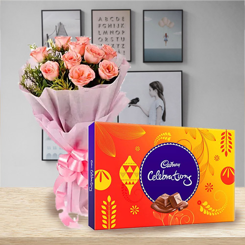 Sweet B Day Combo Gift of Pink Rose and Cadbury Celebration Chocolates