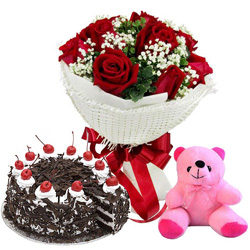 Chaming Black Forest Cake Combo with Red Rose Bouquet and Small Teddy