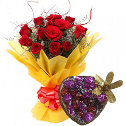 Stylish Bouquet of Red Roses with Handmade Love Chocolate