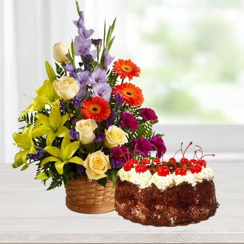 Striking seasonal Flowers with Black Forest Cake