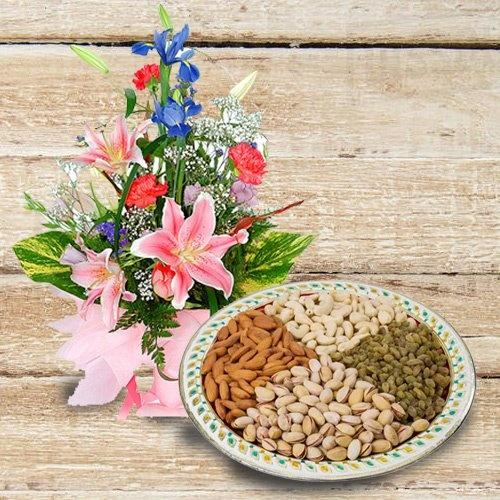 Yummy Dry Fruits with Flower Bouquet with Warm Love