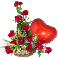 Pretty Red Balloon in the Shape of a Heart and a Bouquet of 36 Red Roses