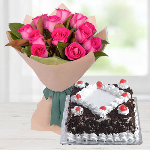 Charming 12 Pink Roses Bunch with 1/2 Kg Black Forest Cake