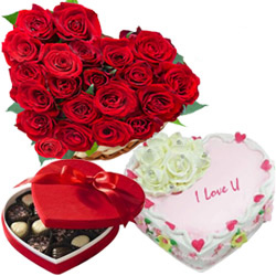 Exotic 24 Red Roses, Heart Shaped Chocolate Box and 1 Lb Heart Shaped Cake