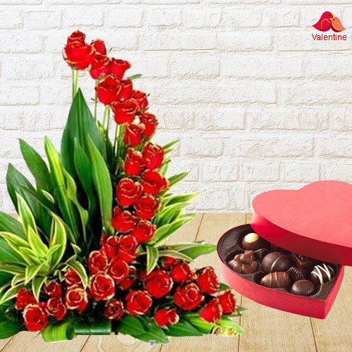 51 Exclusive Dutch Red Roses  Arrangement with Heart Shaped Chocolate Box