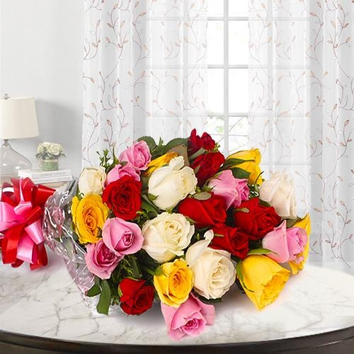 Beautiful 24 Mixed Roses Bouquet
