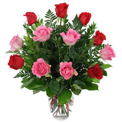 Embracing Love Red and Pink Roses Bouquet