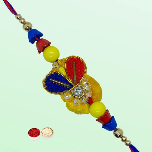 Pretty Single Rakhi Gift Set with free Roli Tilak and Chawal for your Precious Brother on the Occasion of Rakhi
