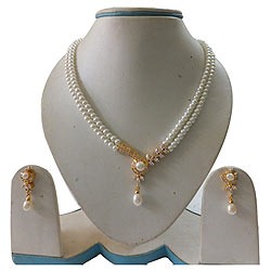 Elegant White Double Line Beautifully Designed Pearl Set for New-Age Women