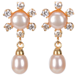 Outstanding Floral Pattern Pearl Eardrop Decked up with American Diamond Stones