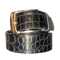 Black Geuinie Leather Casual Belt for Men from Longhorn