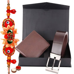 Attractive Combo of Wallet and Belt with Free Rakhi and Roli Tilak Chawal