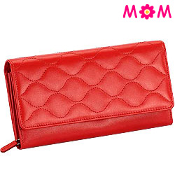 Red Wave shaped Genuine Leather Ladies Wallet from Leather Talks