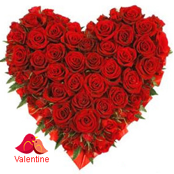 <u><font color=#008000> MidNight Delivery : </FONT></u>:Exclusive  Dutch Red    Roses  in  Heart Shaped Arrangement