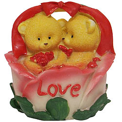 Awe Inspiring Twin Teddy with Roses in a Love Basket