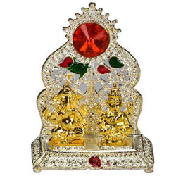 Silver Plated mandap with Golden Ganesh Laxmi Idol