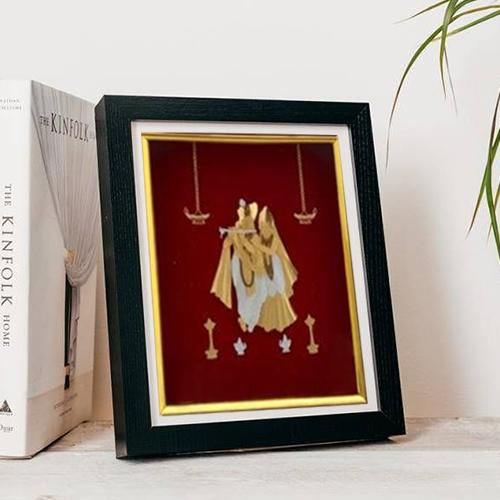 Amazing Gold Plated Radha Krishna Photo Frame
