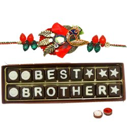 "Astonishing 18 Pieces of ""Best Brother Chocolate"" Pack with Rakhi, Roli Tilak N Chawal for your Caring Brother"