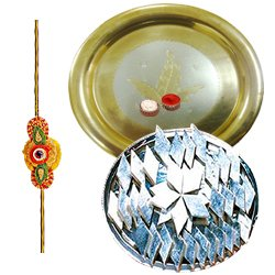 Exclusive Rakhi Special Gift of Gold Plated Puja Thali and Kaju Katli from Haldiram with Rakhi, Roli Tilak and Chawal