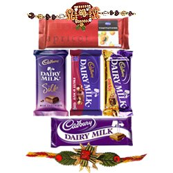 Delectable Raksha Bandhan Special Gift of Cadbury Chocolates Hamper with Free Rakhi Roli Tilak and Chawal