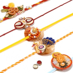 Admirable Rakhi Special 5 Pieces Rakhi Set with Free Roli Tilak and Chawal for your Dear Brother