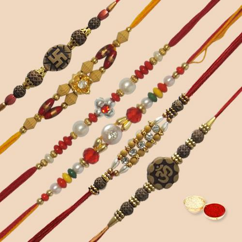 Lovely Rakhi Special Pack of 6 Piece Rakhi with free Roli Tilak and Chawal for your Dear Brother