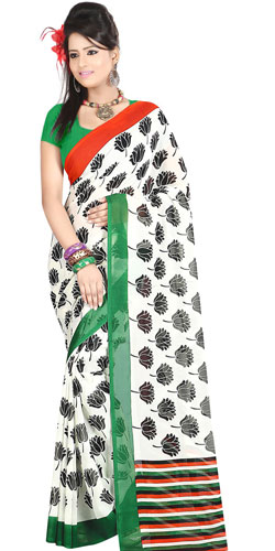 Mind-Blowing White in Shades Dani Georgette Printed Saree with Floral Prints