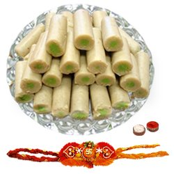 Yummy Gift Pack of Kaju Pista Roll from Haldiram with Free Rakhi, Roli Tilak and Chawal for this Rakhi Festival