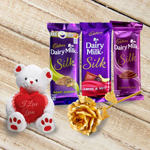 Exquisite Chocolate N Teddy Delight Gift Hamper