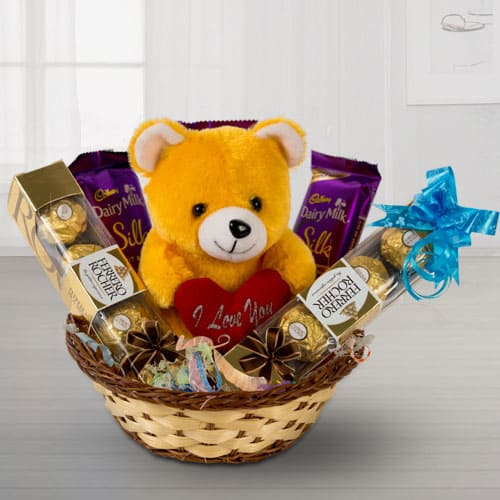 Delightful Chocolates with Love Teddy in a Basket