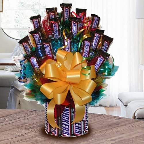Enticing Tower Arrangement of Snickers