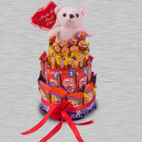 Delightful 4 Layer Chocolates n Teddy Arrangement
