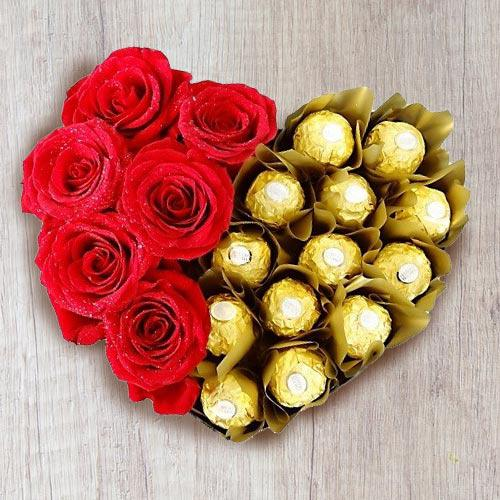 Marvelous Heart Shaped Arrangement of Ferrero Rocher with Roses